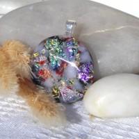 Fused Glass Handmade Dichroic Pendant - Faux Australian Opal 1