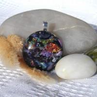 Fused Glass Handmade Dichroic Pendant - Faux Australian Opal 2