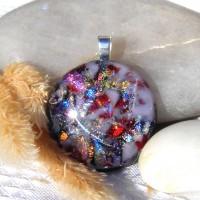 Fused Glass Handmade Dichroic Pendant - Faux Australian Opal 3