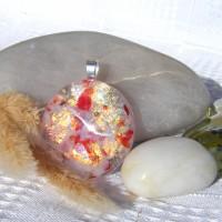 Fused Glass Handmade Dichroic Pendant - Faux Firestone Opal