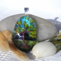 Fused Glass Handmade Dichroic Pendant - Spring Summer Evening Tree