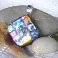 Fused Glass Handmade Dichroic Pendant - Sparkling Bling Diamond