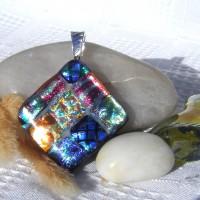Fused Glass Handmade Dichroic Pendant - Colourful Diamond