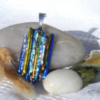Fused Glass Handmade Dichroic Pendant - Gold Blue Silver Icicles