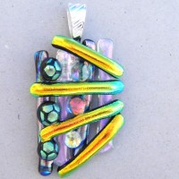 Fused Glass Handmade Dichroic Pendant - Rods and Dots