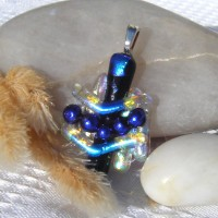 Fused Glass Handmade Dichroic Pendant - Blue and Silver Coat of Arms