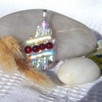 Fused Glass Handmade Dichroic Pendant - Red Silver and Gold Coat of Arms