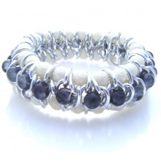 Silver Chain and Grey Glass Bead Bracelet