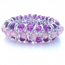 Silver Chain and Purple Glass Bead Bracelet