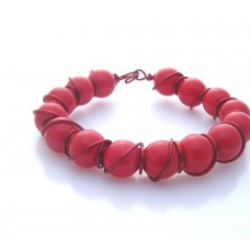 Red Bead and Wire Wrap Bracelet