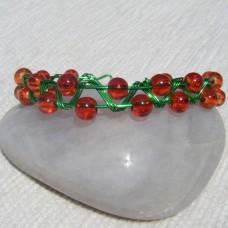 Brown Beads and Green Wire Zigzag Bracelet