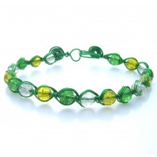 Green Feather Wrap Wire and Multi Bead Bracelet