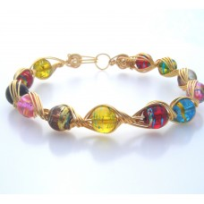Gold Plated Wire and Multi-coloured Glass Beads Bracelet