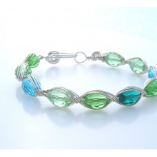 Beaded Bracelet Silver Wire and Green Blue Beads