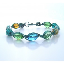 Beaded Bracelet Green Wire and Green Blue Beads