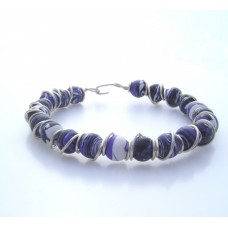 Silver Plated Wire and Purple Veined Agate Bracelet