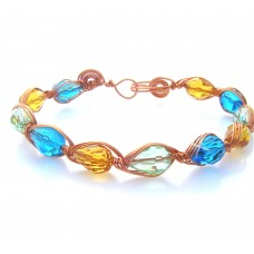 Coloured Teardrop Mutli Faceted Bracelet