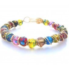 Glass Beads with Foil Flecks Bracelet