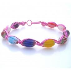 Millefiori Oval Bead Bracelet