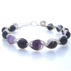 Purple Veined Semi-Precious Agate Bracelet