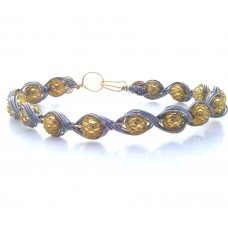 Gold Net Wrapped Beads Encompasssed in Silver Grey Wire