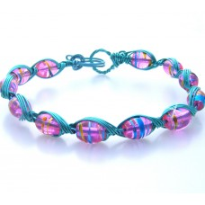 Light Blue Wire and Pink Bead Bracelet