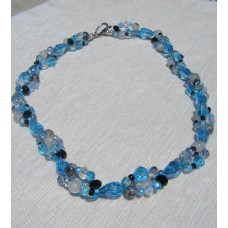 Blue Black Crystal Necklace