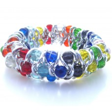 Multi Coloured Crackle Glass Elasticated Bracelet