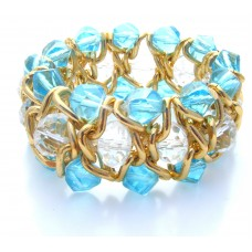 Queens Link Blue Elasticated Bracelet