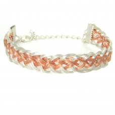 Silver Plated and Copper Wire Roman Pattern Bracelet