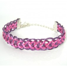 Purple Around Pink Roman Pattern Guilloche Bracelet