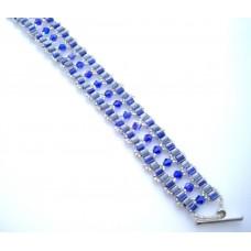 Blue and Grey Square Bead Bracelet