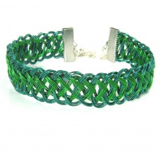 Emerald and Dark Green Wrapped Bracelet