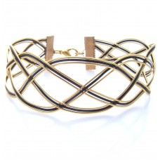 Black and Gold Criss Crossed Bracelet