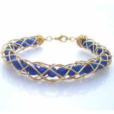Sapphire Gold Coiled Bracelet