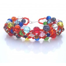 Multi Colour Beads and Red Seed Beads