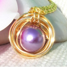 Gold Wrap Pearl Beaded Pendant