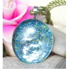 Oval Green Glitter Ball Glass Pendant