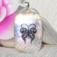 Butterfly Rainbow Dichroic Glass Pendant