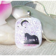 Horse in the Moonlight Dichroic Pendant