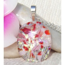 Red, Gold and Silver Dichroic Glass Pendant