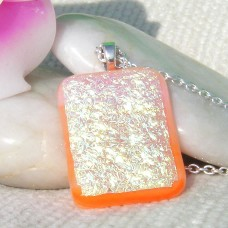 Crinkle Gold on Orange Dichroic Pendant
