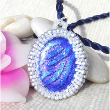 Oval Blue Dichroic Seed Bead Pendant