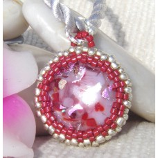 Round Red Dichroic Seed Bead Pendant