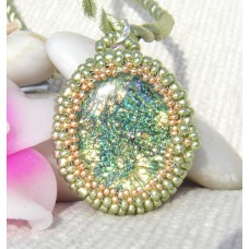 Greens and Gold Dichroic Seed Bead Pendant